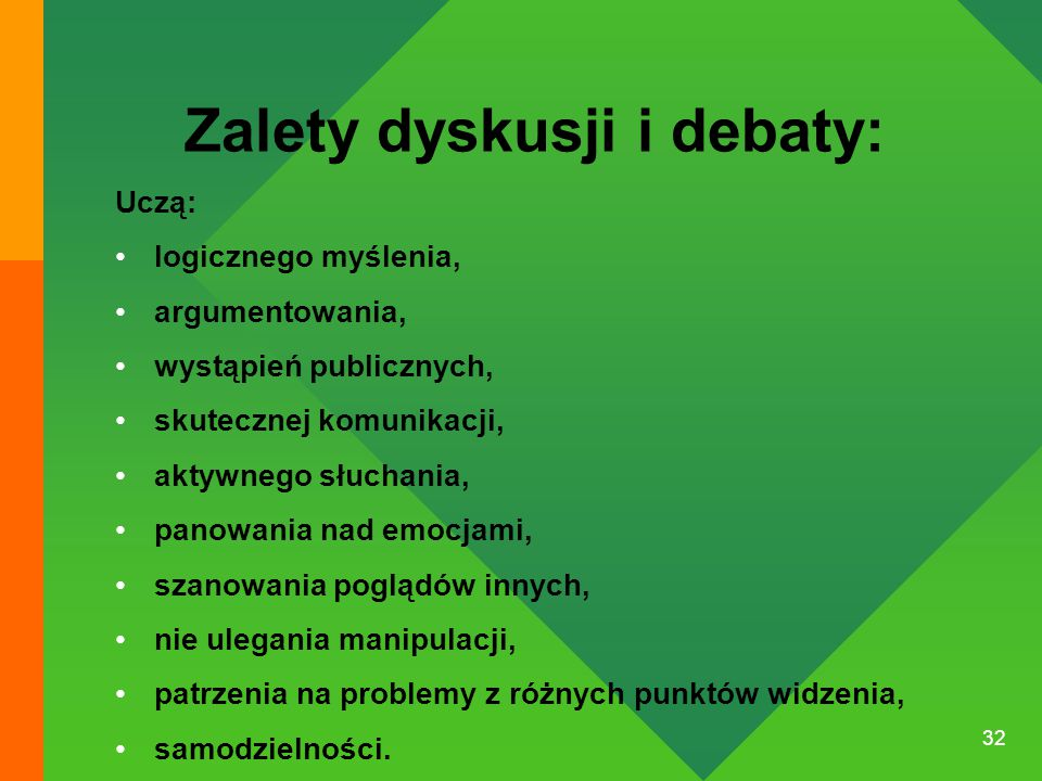 Zalety dyskusji i debaty: