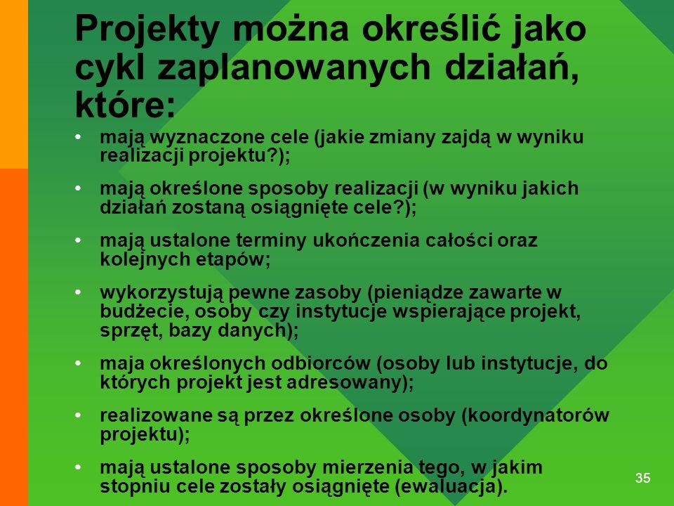 Projekty można określić jako cykl zaplanowanych działań, które: