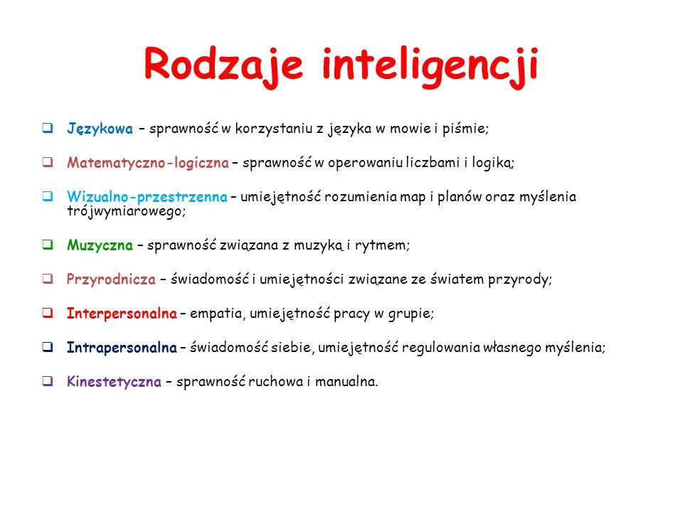 Rodzaje inteligencji Językowa – sprawność w korzystaniu z języka w mowie i piśmie; Matematyczno-logiczna – sprawność w operowaniu liczbami i logiką;