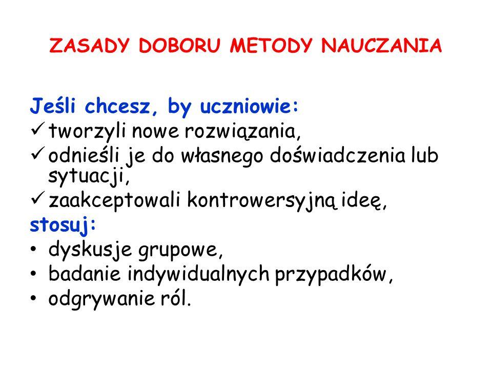 ZASADY DOBORU METODY NAUCZANIA