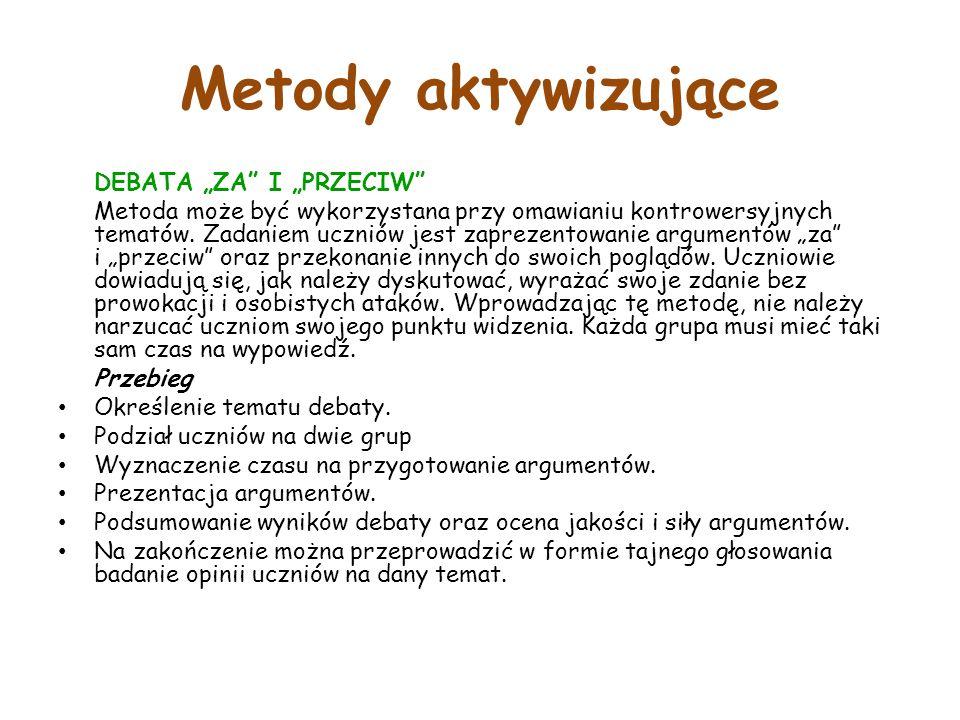 """Metody aktywizujące DEBATA """"ZA I """"PRZECIW"""