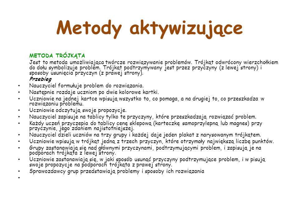 Metody aktywizujące METODA TRÓJKĄTA