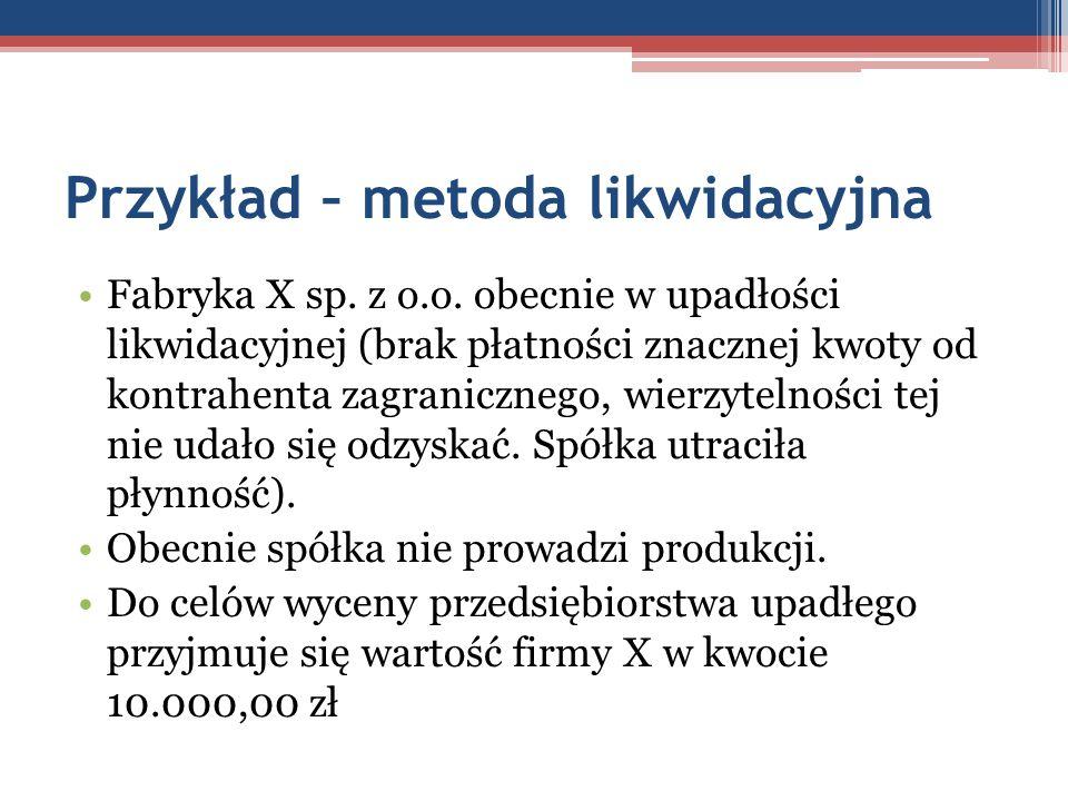 Przykład – metoda likwidacyjna