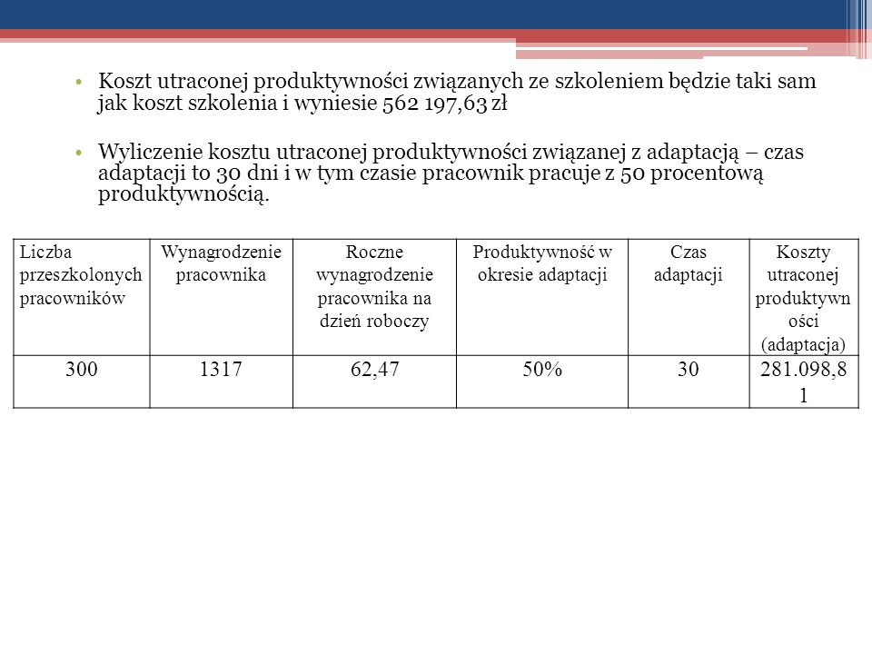 Koszt utraconej produktywności związanych ze szkoleniem będzie taki sam jak koszt szkolenia i wyniesie 562 197,63 zł
