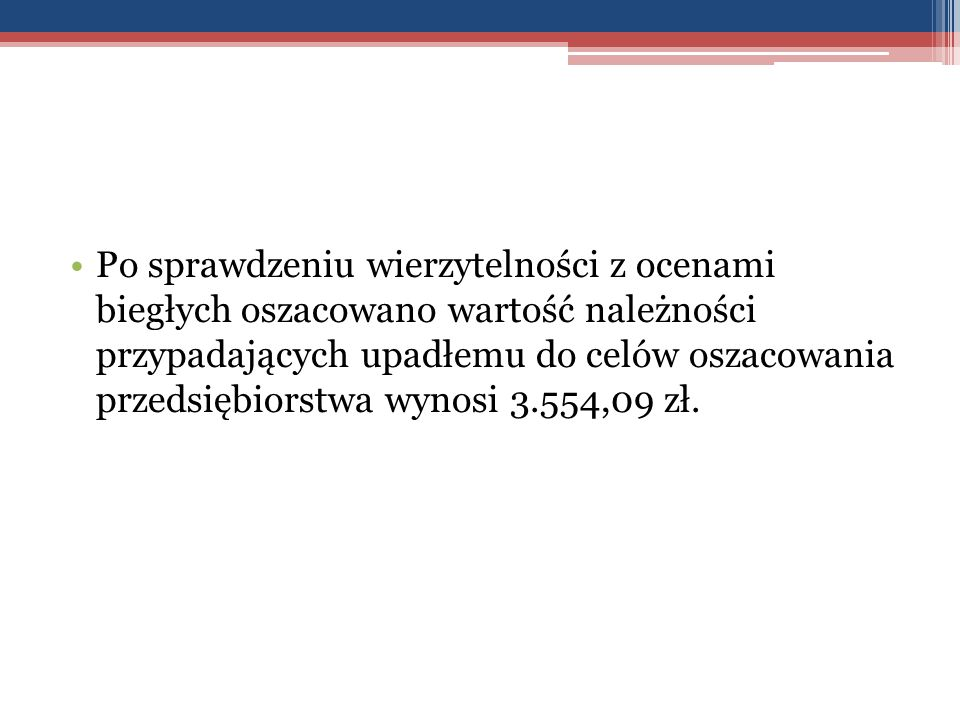 Po sprawdzeniu wierzytelności z ocenami biegłych oszacowano wartość należności przypadających upadłemu do celów oszacowania przedsiębiorstwa wynosi 3.554,09 zł.