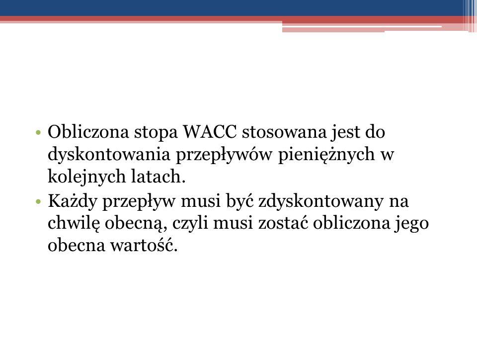 Obliczona stopa WACC stosowana jest do dyskontowania przepływów pieniężnych w kolejnych latach.