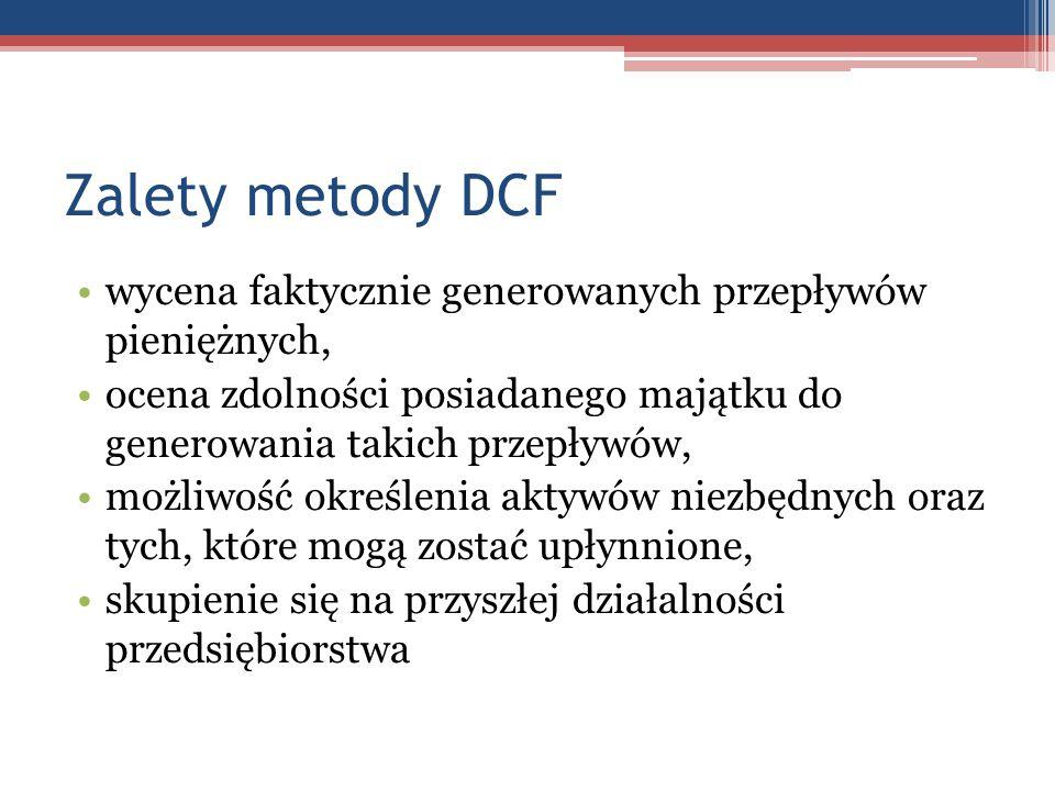 Zalety metody DCF wycena faktycznie generowanych przepływów pieniężnych, ocena zdolności posiadanego majątku do generowania takich przepływów,