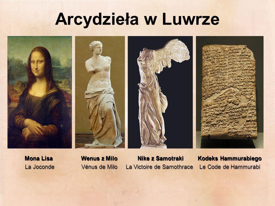 Arcydzieła w Luwrze Mona Lisa Wenus z Milo Nike z Samotraki Kodeks Hammurabiego.