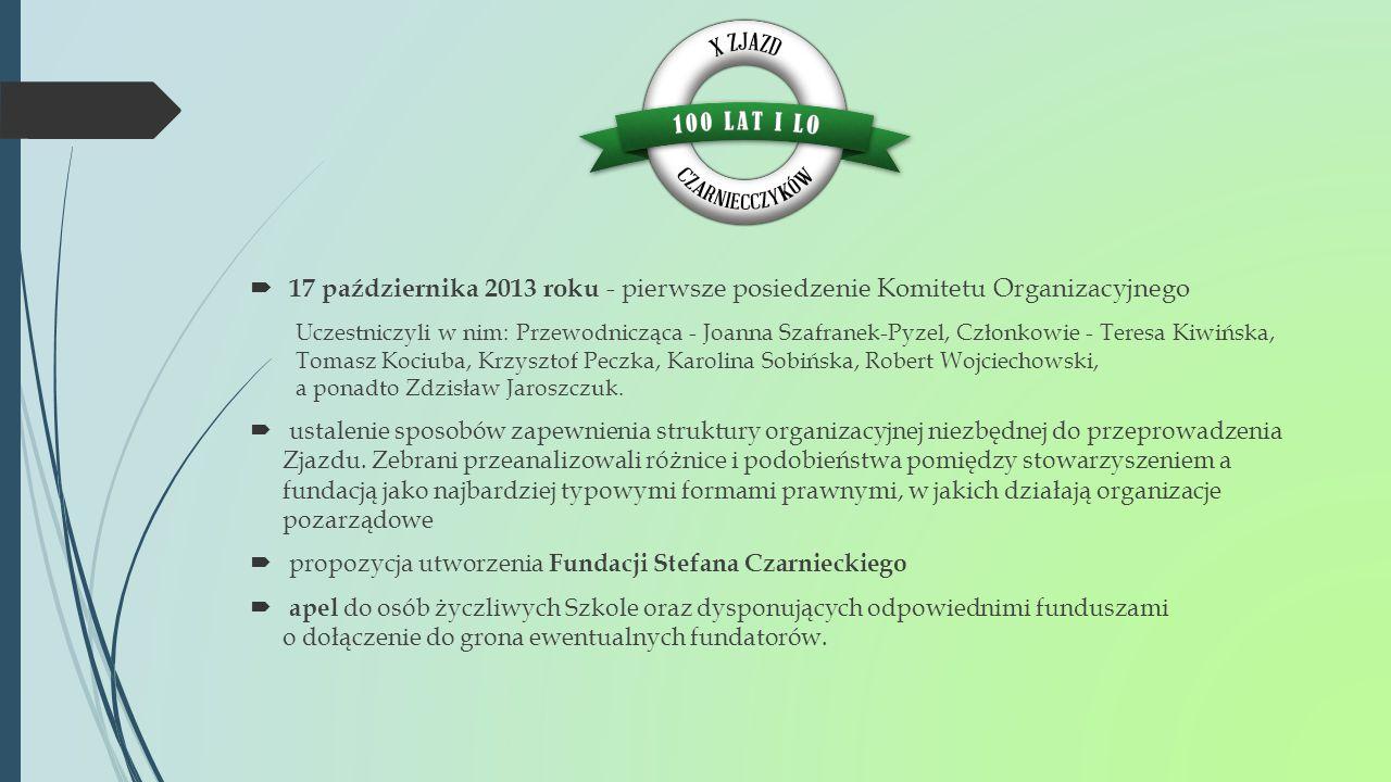 17 października 2013 roku - pierwsze posiedzenie Komitetu Organizacyjnego