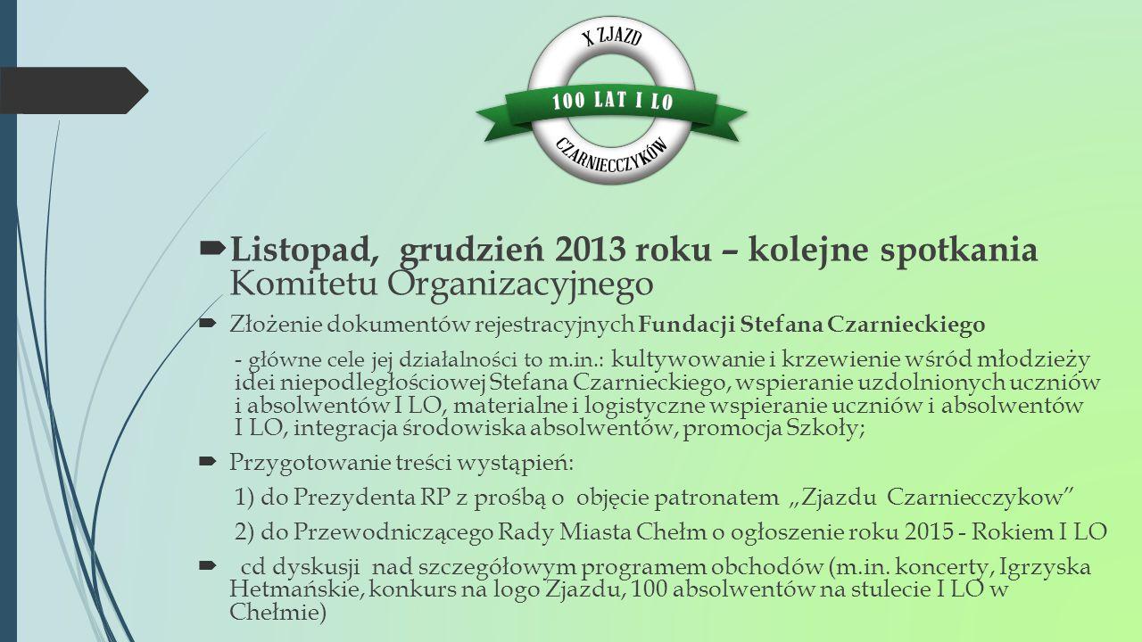 Listopad, grudzień 2013 roku – kolejne spotkania Komitetu Organizacyjnego