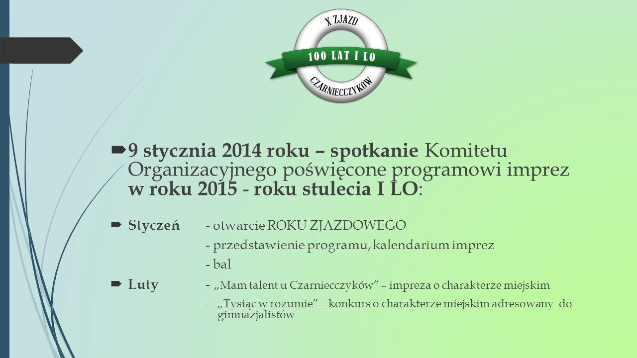 9 stycznia 2014 roku – spotkanie Komitetu Organizacyjnego poświęcone programowi imprez w roku 2015 - roku stulecia I LO: