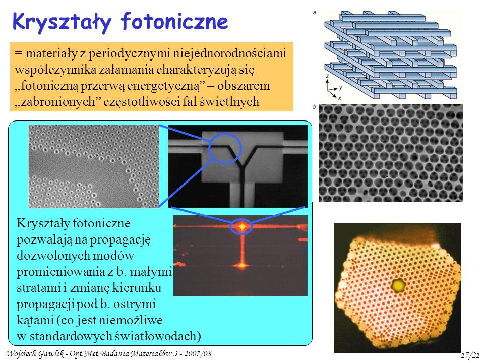 Kryształy fotoniczne = materiały z periodycznymi niejednorodnościami