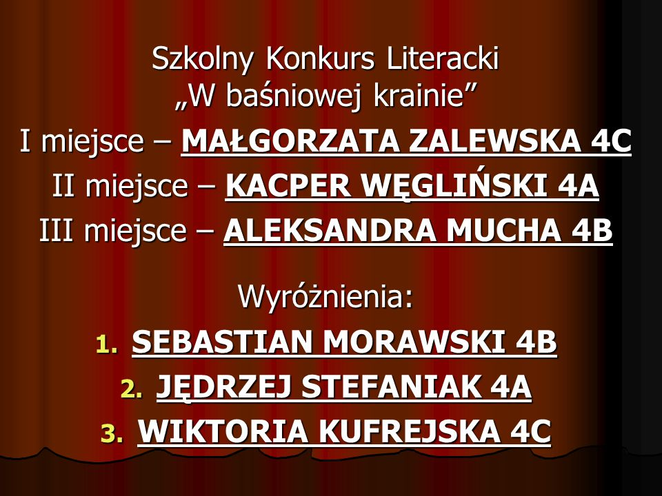 SEBASTIAN MORAWSKI 4B JĘDRZEJ STEFANIAK 4A WIKTORIA KUFREJSKA 4C