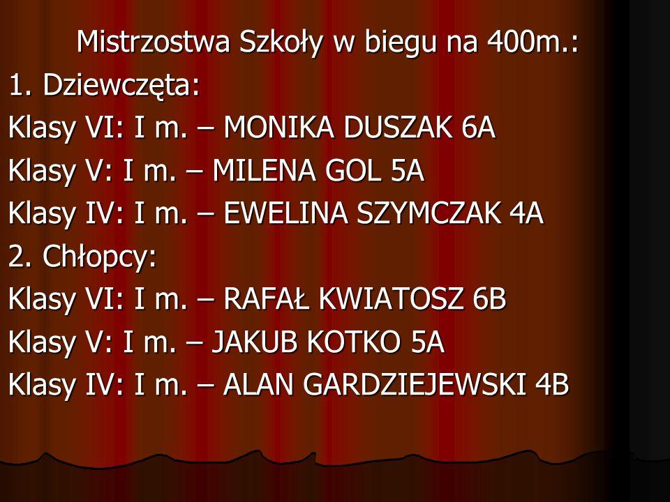 Mistrzostwa Szkoły w biegu na 400m. : 1. Dziewczęta: Klasy VI: I m