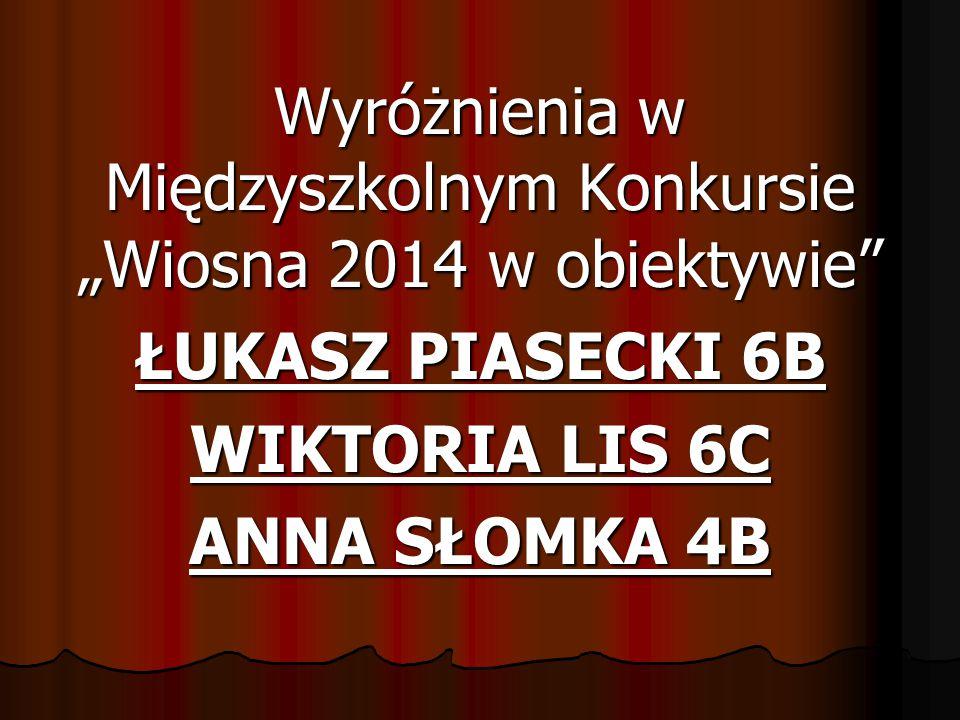 """Wyróżnienia w Międzyszkolnym Konkursie """"Wiosna 2014 w obiektywie ŁUKASZ PIASECKI 6B WIKTORIA LIS 6C ANNA SŁOMKA 4B"""