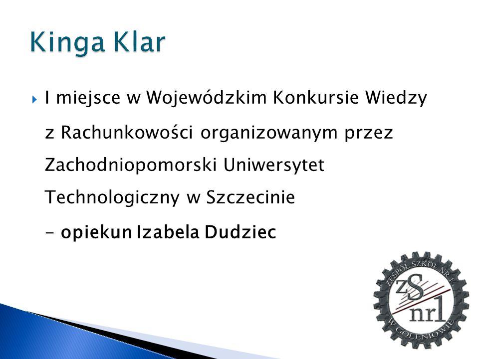 Kinga Klar I miejsce w Wojewódzkim Konkursie Wiedzy