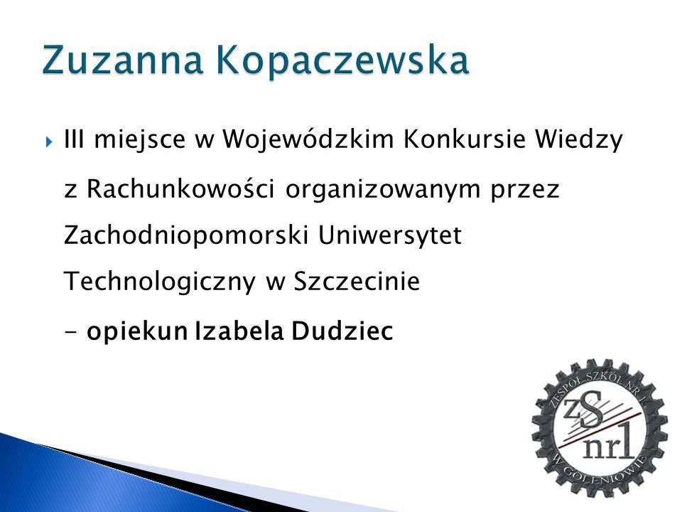 Zuzanna Kopaczewska III miejsce w Wojewódzkim Konkursie Wiedzy