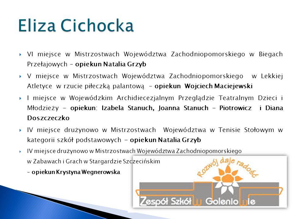 Eliza Cichocka VI miejsce w Mistrzostwach Województwa Zachodniopomorskiego w Biegach Przełajowych – opiekun Natalia Grzyb.