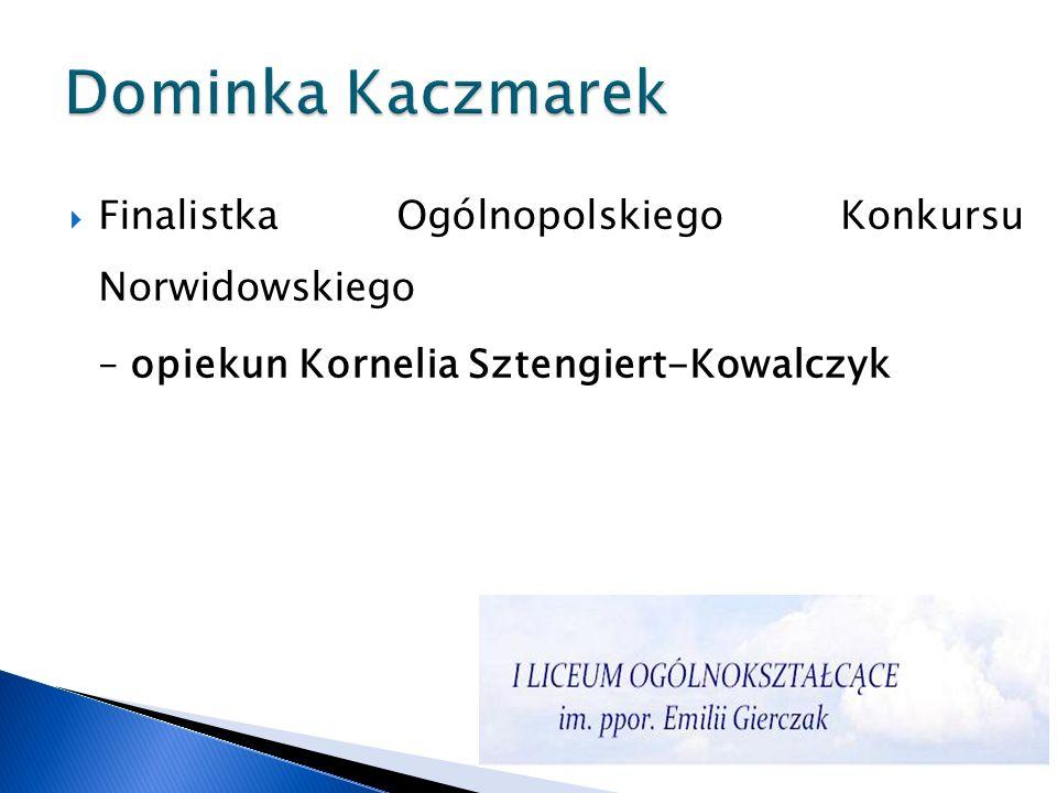 Dominka Kaczmarek Finalistka Ogólnopolskiego Konkursu Norwidowskiego