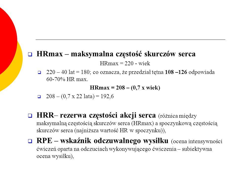 HRmax – maksymalna częstość skurczów serca