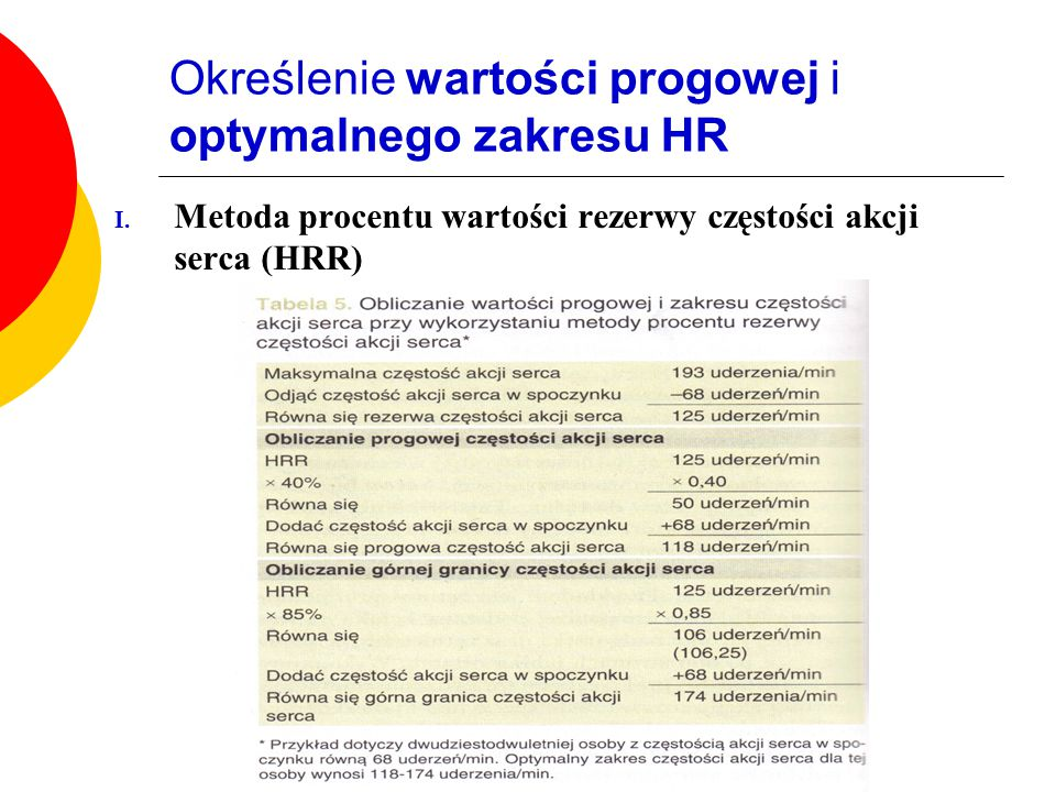 Określenie wartości progowej i optymalnego zakresu HR