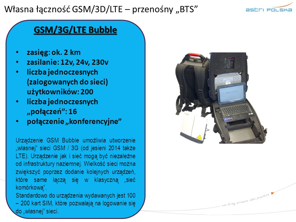 """Własna łączność GSM/3D/LTE – przenośny """"BTS"""
