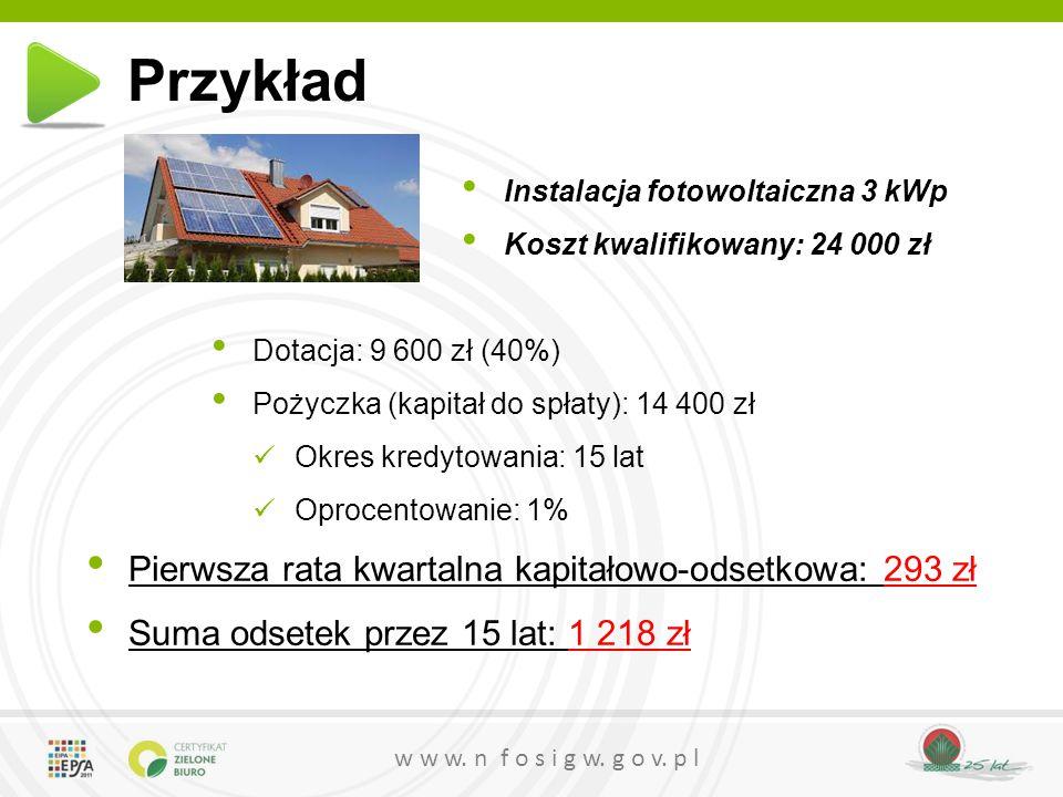 Przykład Pierwsza rata kwartalna kapitałowo-odsetkowa: 293 zł