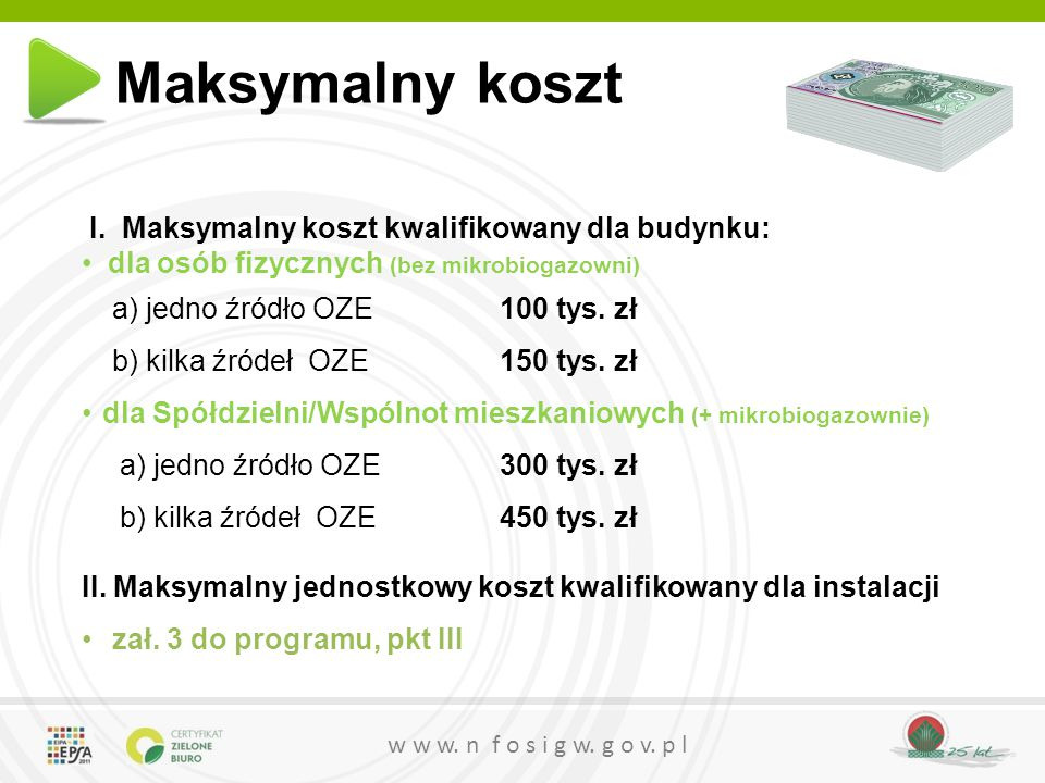 Maksymalny koszt I. Maksymalny koszt kwalifikowany dla budynku: