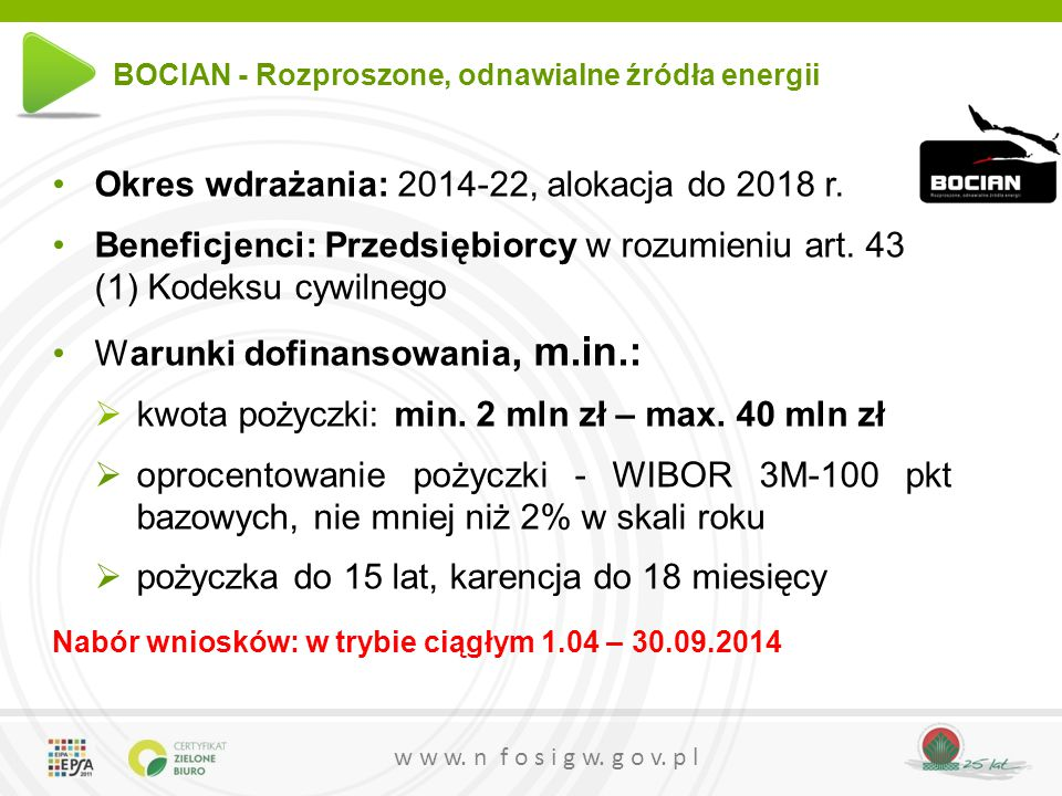 Okres wdrażania: 2014-22, alokacja do 2018 r.