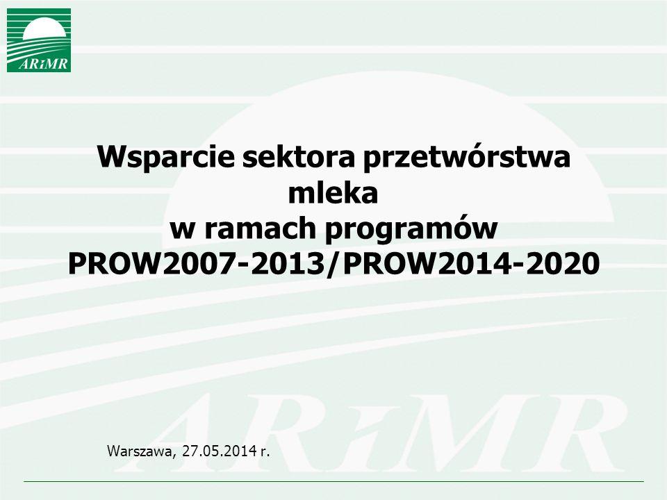 Wsparcie sektora przetwórstwa mleka w ramach programów PROW2007-2013/PROW2014-2020