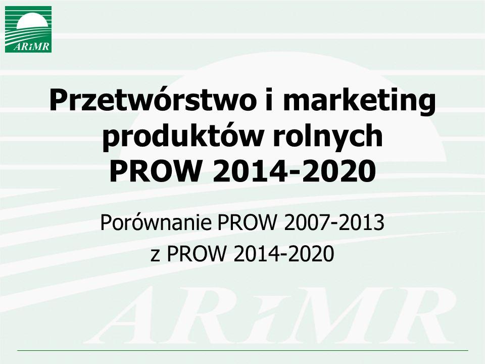 Przetwórstwo i marketing produktów rolnych PROW 2014-2020