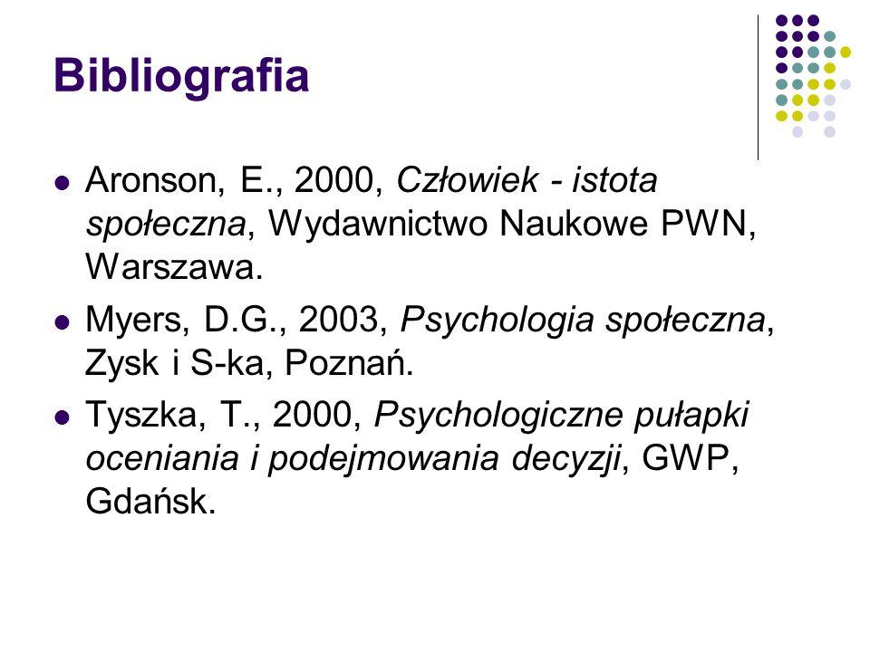 Bibliografia Aronson, E., 2000, Człowiek - istota społeczna, Wydawnictwo Naukowe PWN, Warszawa.