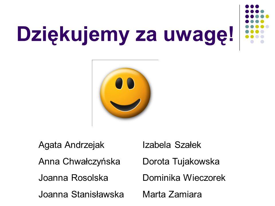 Dziękujemy za uwagę! Agata Andrzejak Anna Chwałczyńska Joanna Rosolska