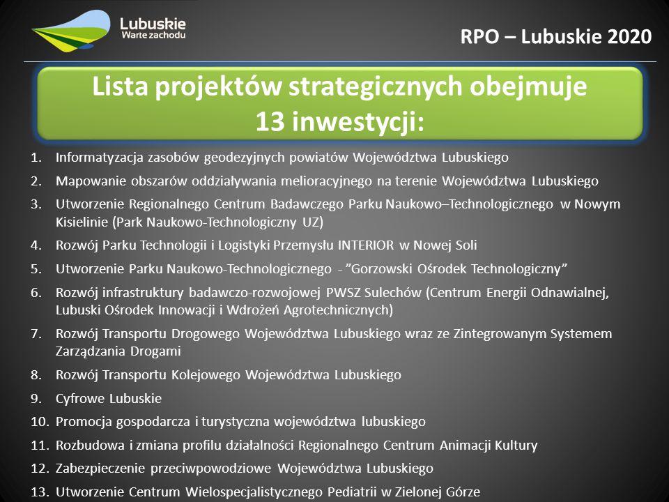 Lista projektów strategicznych obejmuje 13 inwestycji: