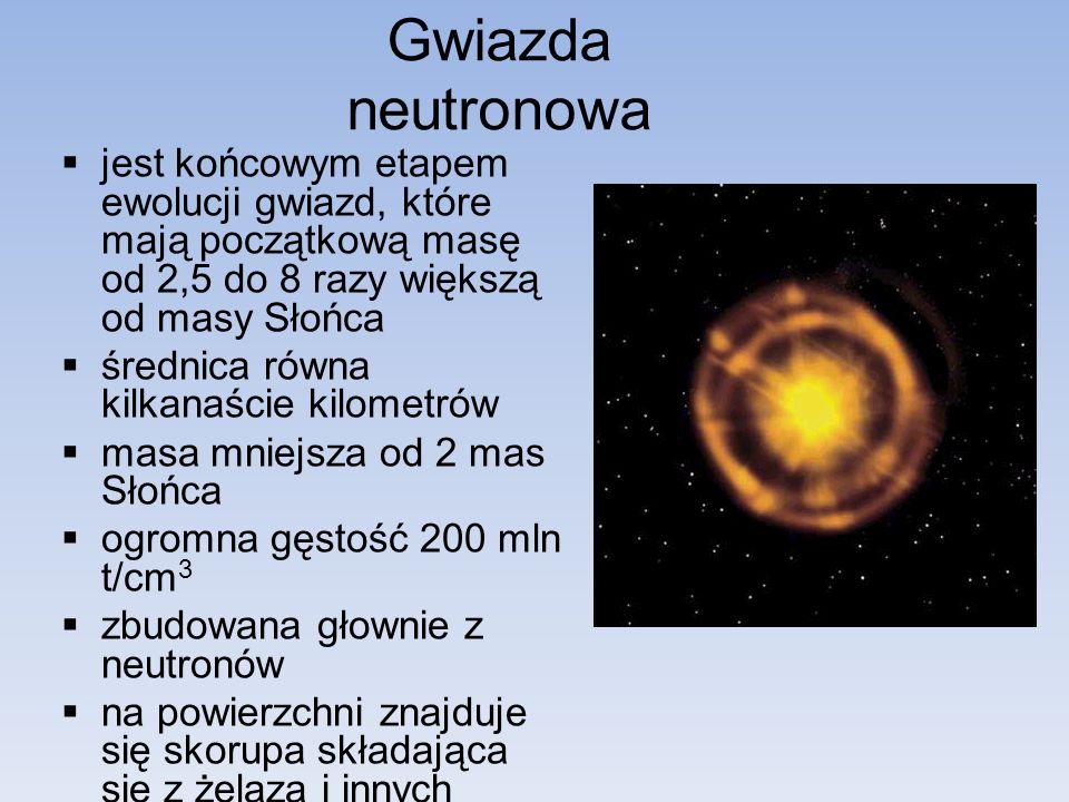 Gwiazda neutronowa jest końcowym etapem ewolucji gwiazd, które mają początkową masę od 2,5 do 8 razy większą od masy Słońca.