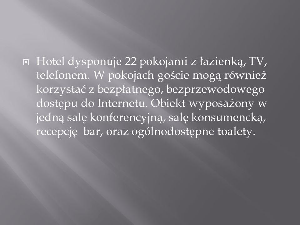 Hotel dysponuje 22 pokojami z łazienką, TV, telefonem