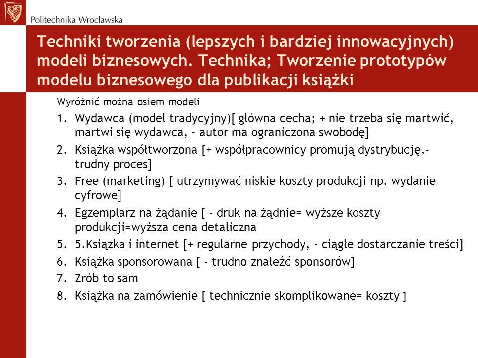 Techniki tworzenia (lepszych i bardziej innowacyjnych) modeli biznesowych. Technika; Tworzenie prototypów modelu biznesowego dla publikacji książki