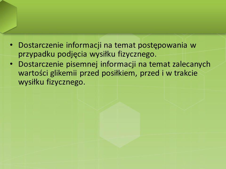 Dostarczenie informacji na temat postępowania w przypadku podjęcia wysiłku fizycznego.