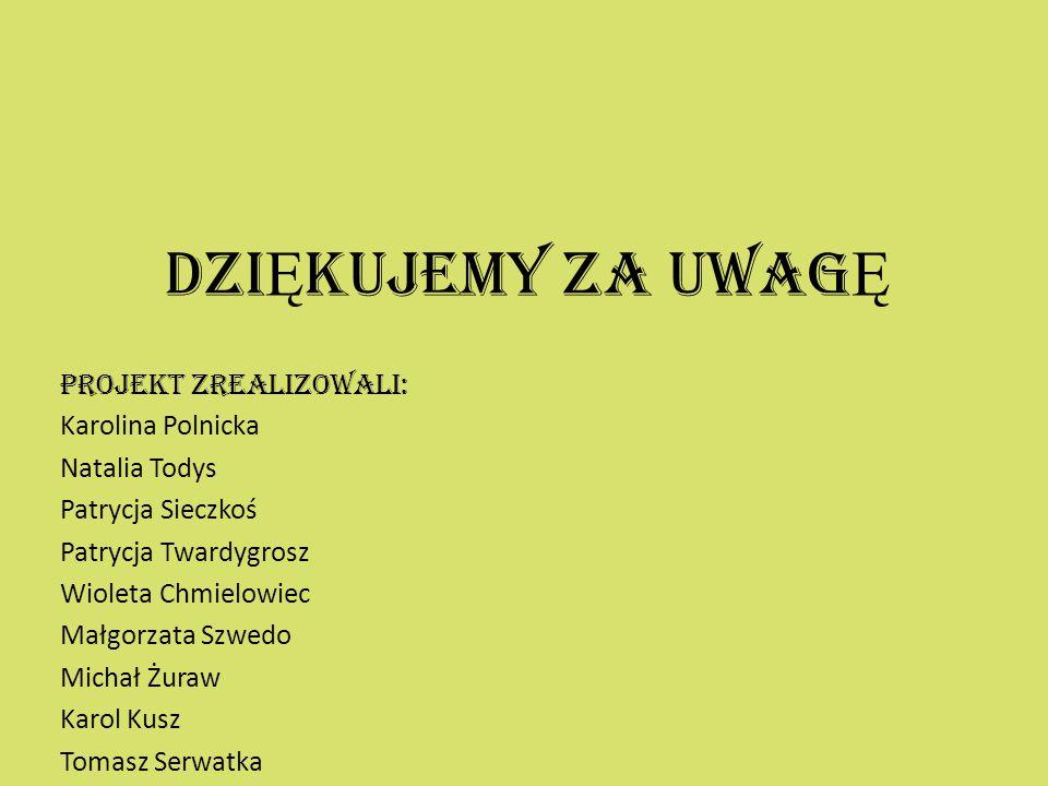 DZIĘKUJEMY ZA UWAGĘ PROJEKT ZREALIZOWALI: Karolina Polnicka