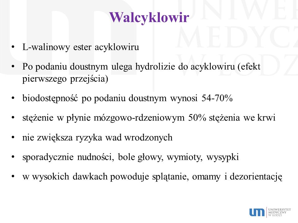 Walcyklowir L-walinowy ester acyklowiru