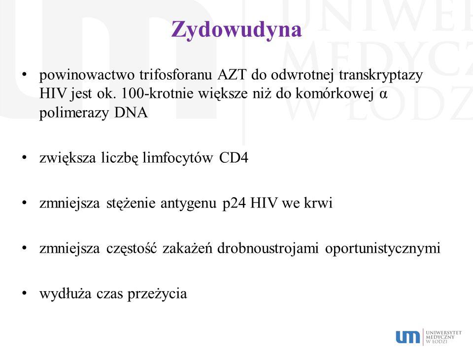 Zydowudyna powinowactwo trifosforanu AZT do odwrotnej transkryptazy HIV jest ok. 100-krotnie większe niż do komórkowej α polimerazy DNA.
