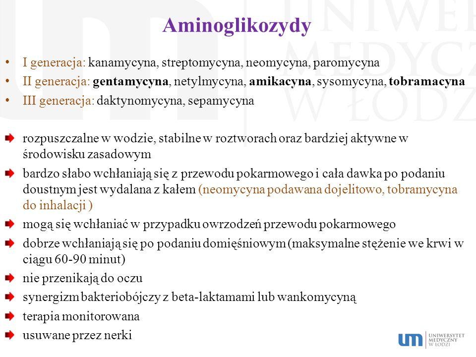 Aminoglikozydy I generacja: kanamycyna, streptomycyna, neomycyna, paromycyna.