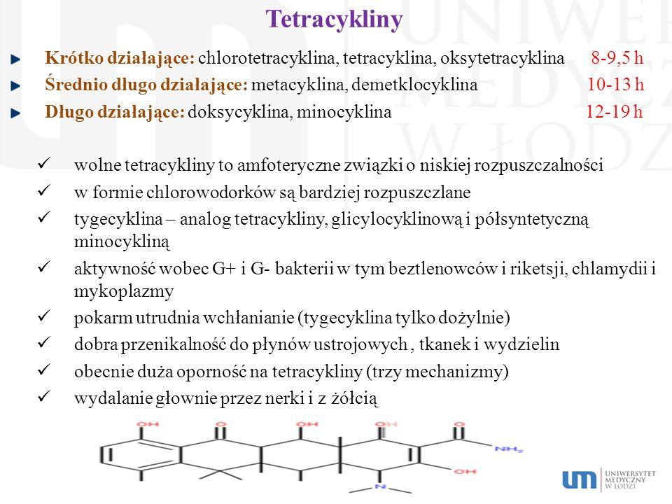 Tetracykliny Krótko działające: chlorotetracyklina, tetracyklina, oksytetracyklina 8-9,5 h.