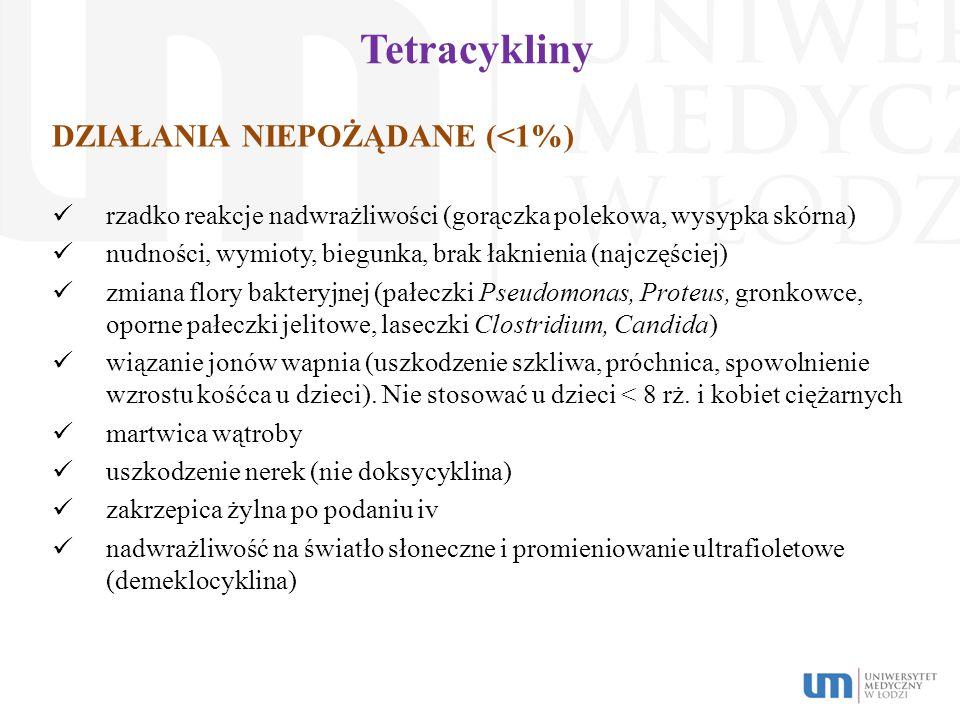 Tetracykliny DZIAŁANIA NIEPOŻĄDANE (<1%)