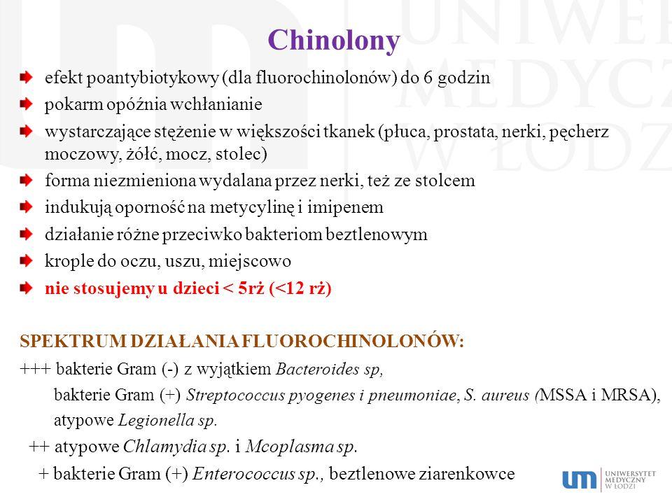Chinolony efekt poantybiotykowy (dla fluorochinolonów) do 6 godzin