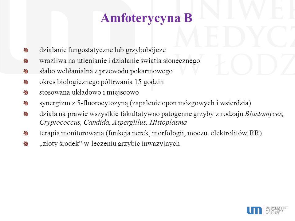 Amfoterycyna B działanie fungostatyczne lub grzybobójcze