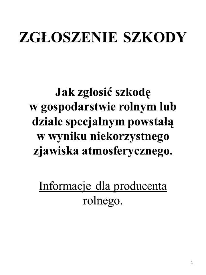Informacje dla producenta rolnego.