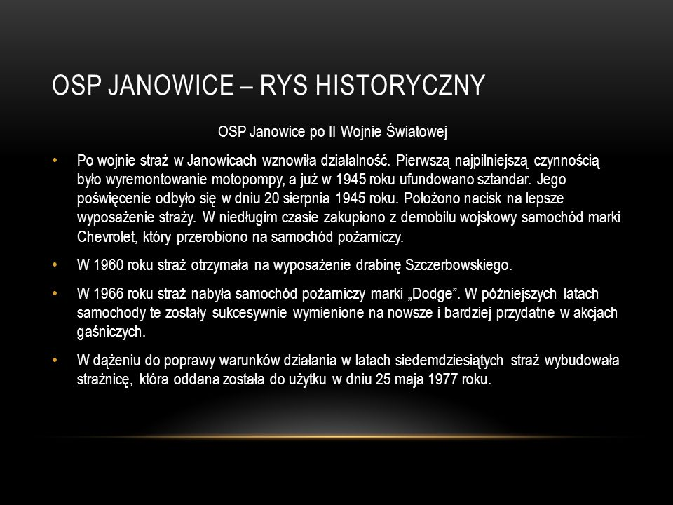 OSP JANOWICE – Rys historyczny