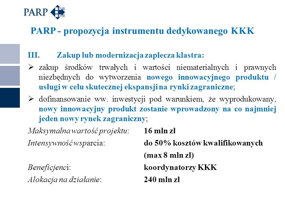 PARP - propozycja instrumentu dedykowanego KKK