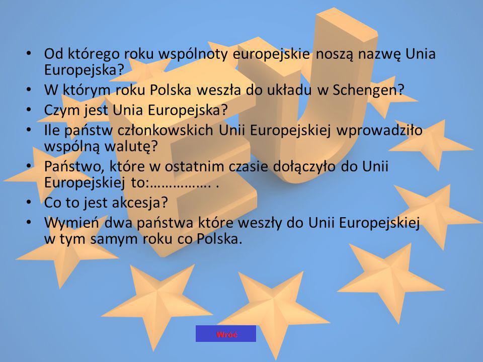 Od którego roku wspólnoty europejskie noszą nazwę Unia Europejska